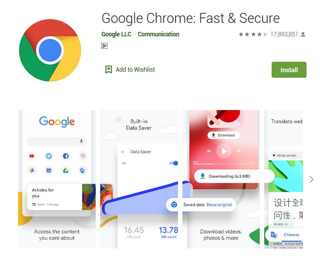 A screenshot photo of the mobile app Google Chrome: Fast & Secure, one of the 50 Top Free Apps In Google Play