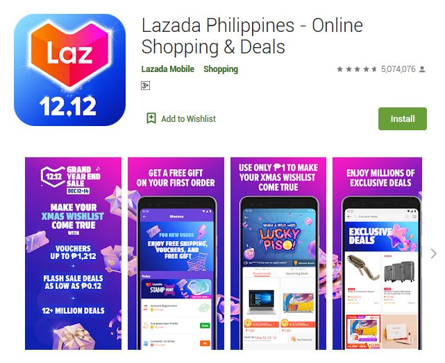 A screenshot photo of the mobile app Lazada Philippines - Online Shopping & Deals, one of the 50 Top Free Apps In Google Play