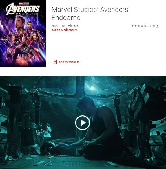 Screenshot photo of the Google Play's Best of 2019 Users' Choice 2019 Movie: Marvel Studios' Avengers: Endgame