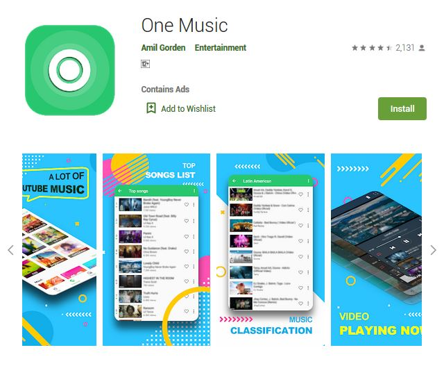 A screenshot photo of the mobile app One Music