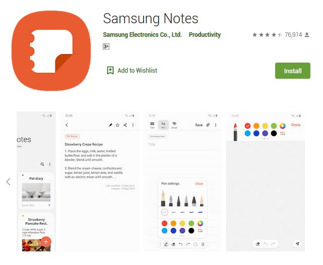 A screenshot photo of the mobile app Samsung Notes