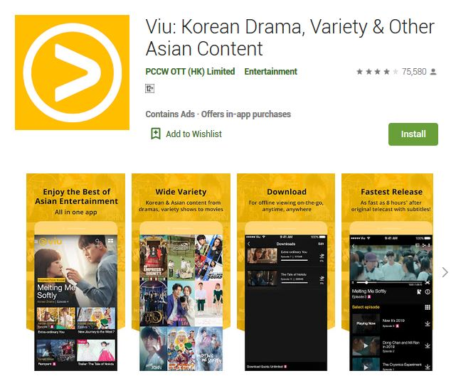A screenshot photo of the mobile app Viu