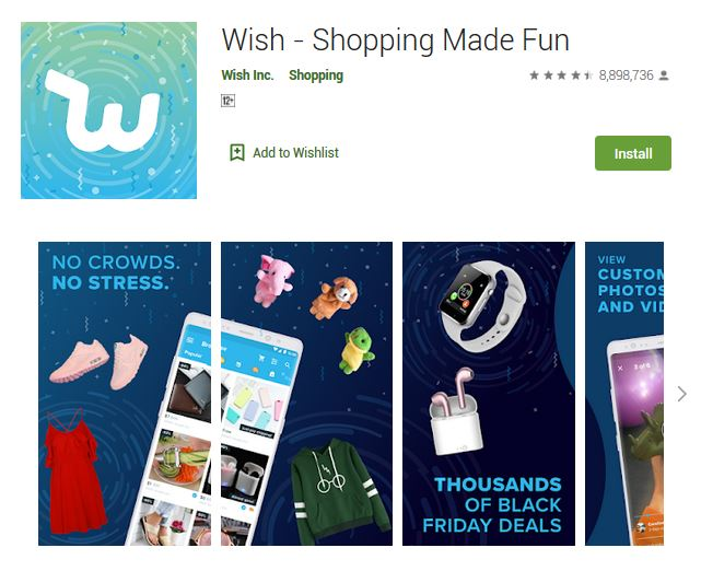 A screenshot photo of the mobile app Wish, one of the 50 Top Free Apps In Google Play