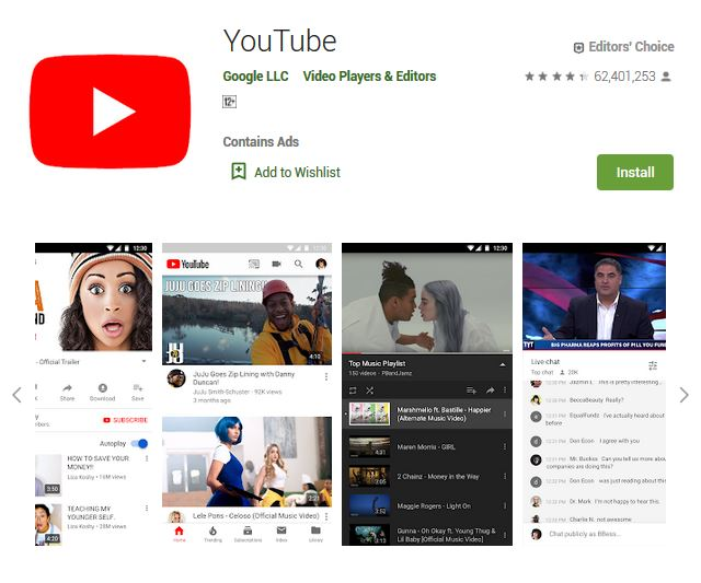 A screenshot photo of the mobile app YouTube, one of the 50 Top Free Apps In Google Play