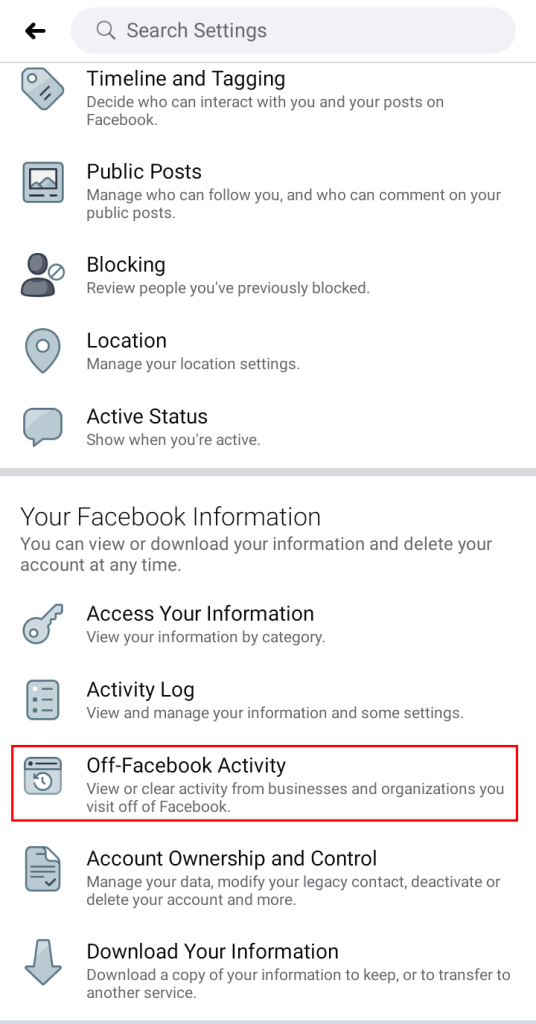 A screenshot of Facebook Settings Page