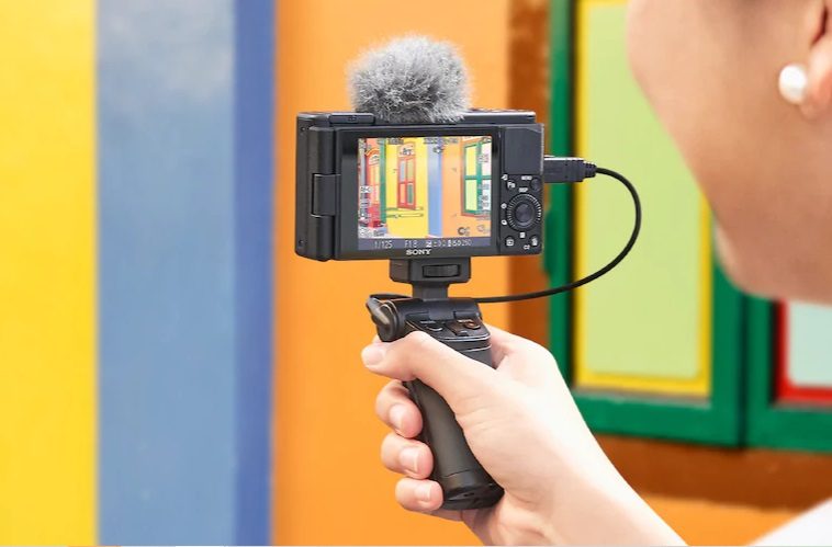 Photo of a vlogger using the Sony ZV-1 Camera