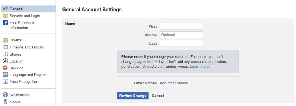 """Screenshot of the General Account Settings page on the Facebook website for the TechToGraphy """"How to Change Name in Facebook"""" blog."""