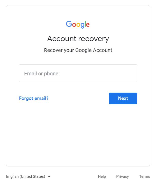 """A screenshot of the Google Account Recovery page. It saya, """"Recover your Google Account."""""""