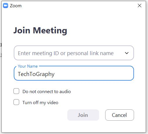 "A screenshot of the ""Join a Meeting"" page from the Zoom Cloud Meetings app on computer. This photo is for the ""How to Use Zoom"" blog of TechToGraphy."