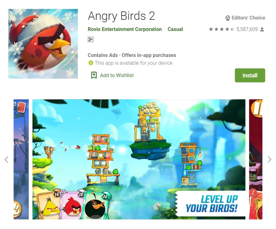 This screenshot features the mobile game Angry Birds 2, one of the Editors Choice Games in Google Play.