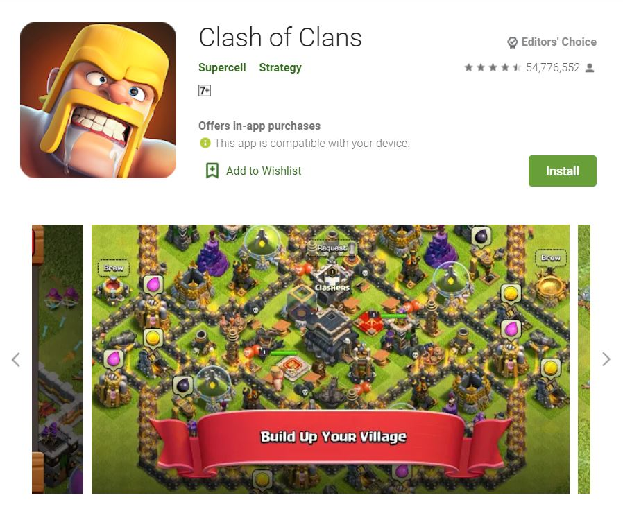 This screenshot features the mobile game Clash of Clans, one of the Editors Choice Games in Google Play.