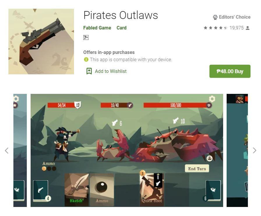 This screenshot features the mobile game Pirates Outlaws, one of the Editors Choice Games in Google Play.