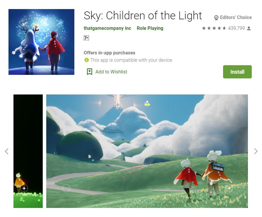 This screenshot features the mobile game Sky: Children of the Light, one of the Editors Choice Games in Google Play.