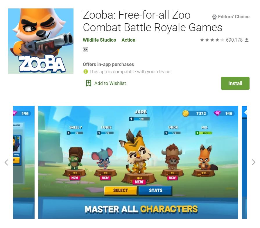 This screenshot featured the mobile game Zooba: Free-for-all Zoo Combat Battle Royale Games, one of the Editors Choice Games in Google Play.