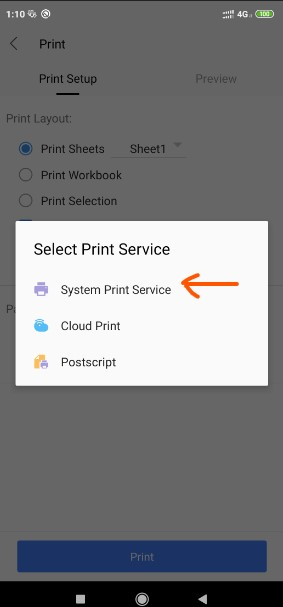 Make PDF file from Excel Worksheet using WPS office Android App