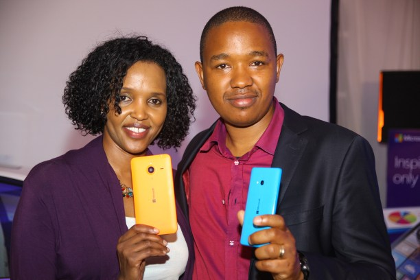 Mariam Abdulahi Microsoft Mobile GM and King'ori Gitahi Product Manager displays the Lumia 640 and 640 XL when it was launched in Kenya in May 2015