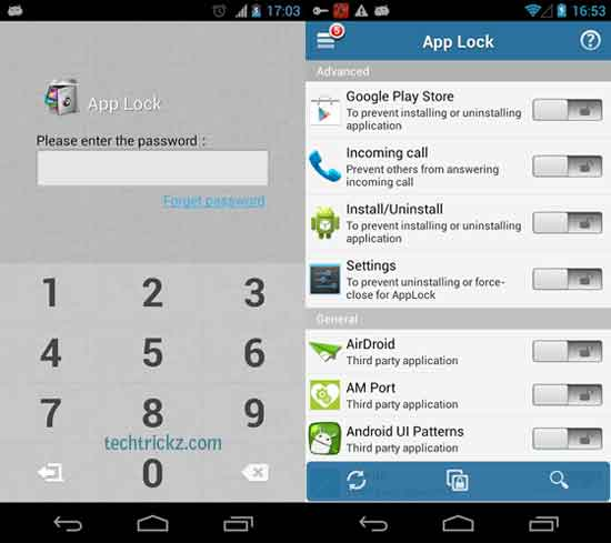 password protect apps android