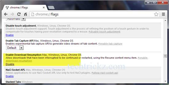 Resume Downloads In Google Chrome 29 Without External