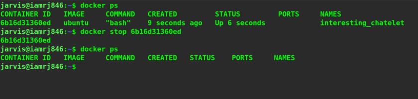 Docker Stop Command