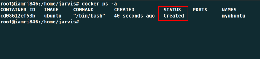 Container is in created state