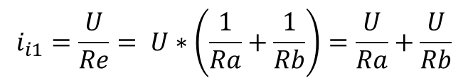 Equation with Ohm's law for two parallel resistors