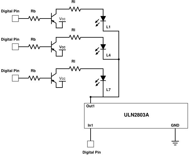 Configuration of a column of the 3x3 LED Matrix.
