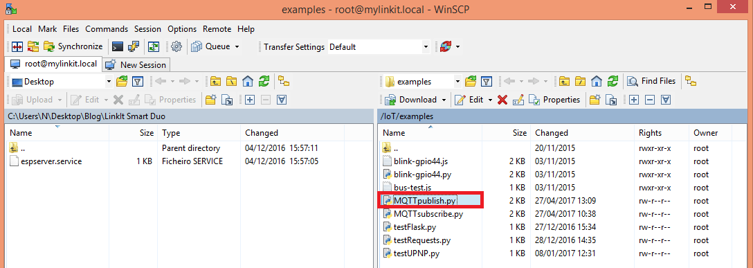 WinSCP creating Python MQTT publish file