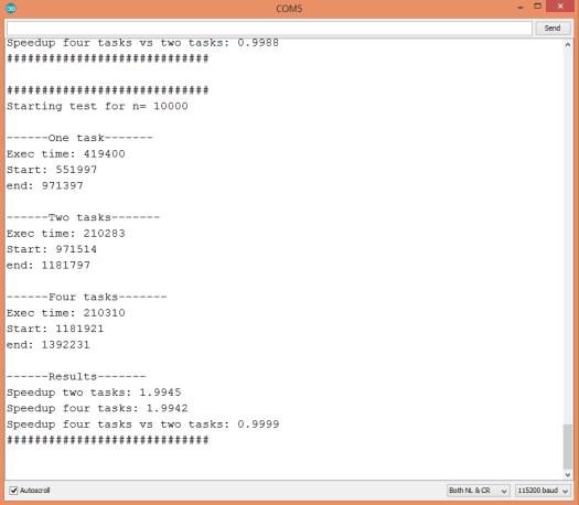 ESP32 Dual core speedup analysis