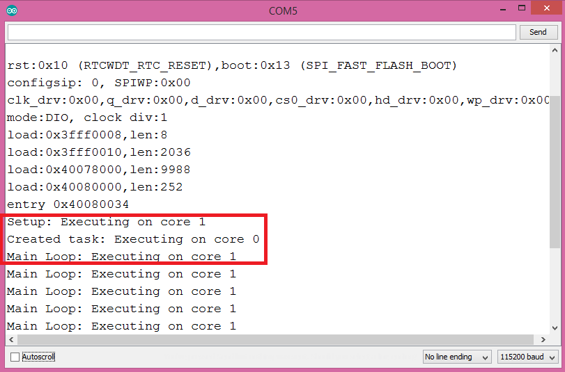 ESP32 Get code running core