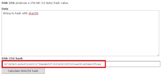 Result of the hash using sha256