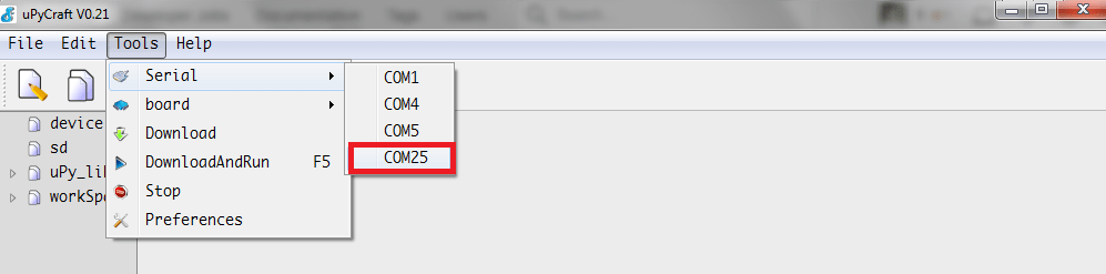 ESP32 MicroPython IDE select serial port.png