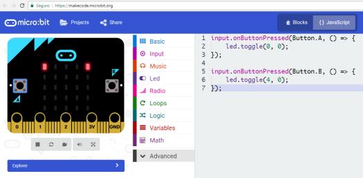 Micro:bit JavaScript Blocks Editor: Detecting button click