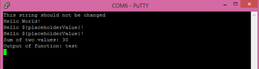 microbit JavaScript string interpolation Putty output