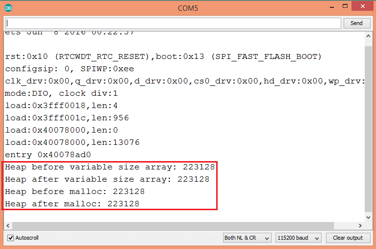 ESP32 Arduino compiler optimizations removed arrays