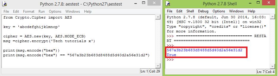 ESP32 AES ECB Mode result Python comparison