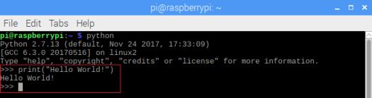Raspberry Pi 2.7 Python Hello World from command line