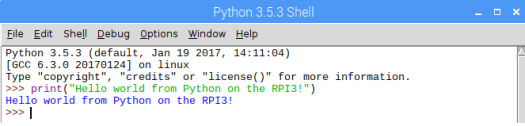Raspberry Pi 3 Hello World in Python IDLE.png