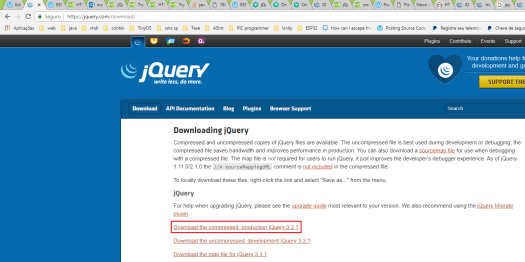 Downloading jQuery production version