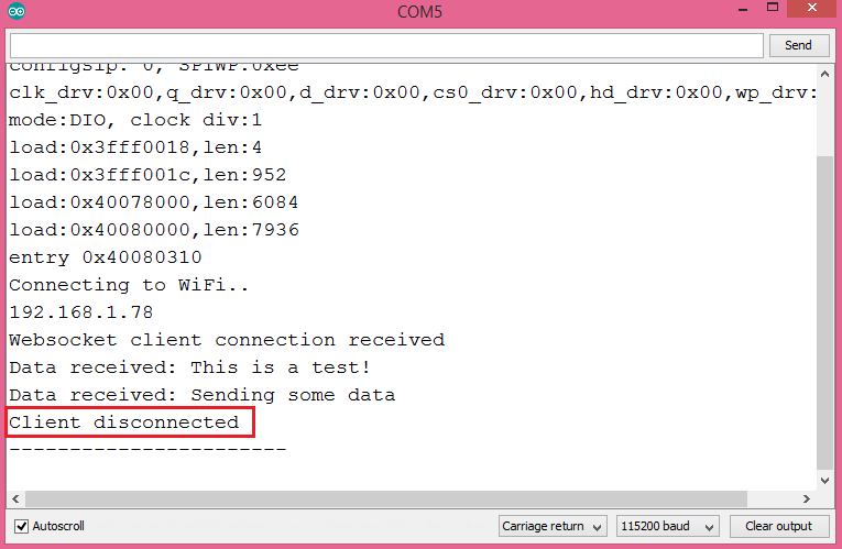 Websocket disconnection message printed to the Arduino IDE serial monitor