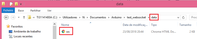 Data folder with the HTML file inside the Arduino sketch directory