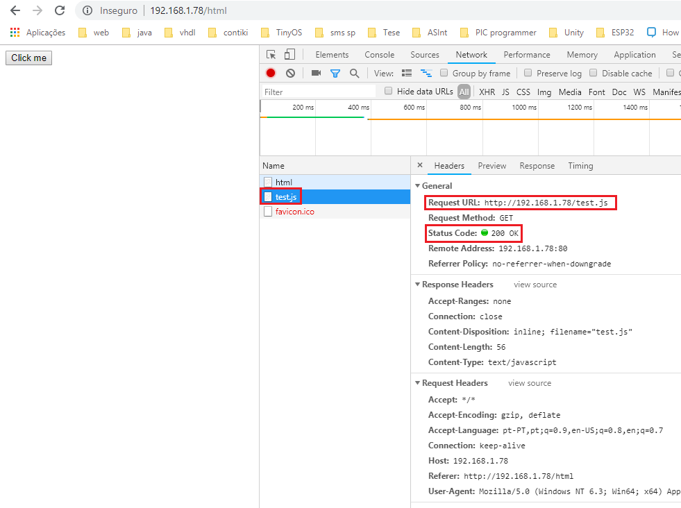 Accessing the HTML page served by the ESP32 with the developer's console opened