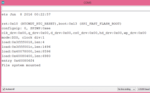 Arduino IDE serial monitor showing the message indicating the file system was successfully mounted
