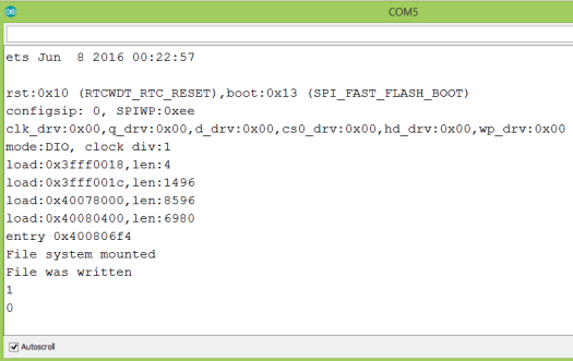 Output of the program that checks if a file exists in the ESP32 FAT file system