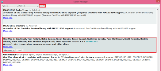 Installing OneWire library using the Arduino IDE library manager