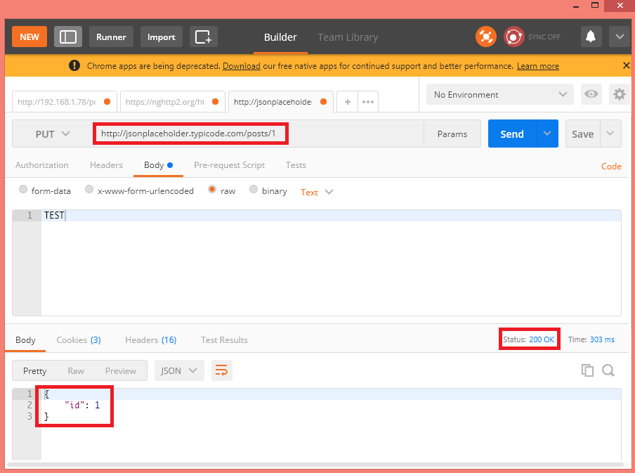Sending PUT request to fake online testing API, using Postman