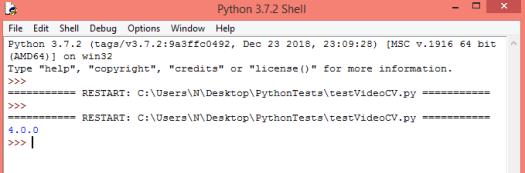 Obtaining Python OpenCV version installed.