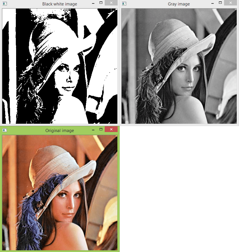 Showing original image, gray and black and white versions, using OpenCV and Python