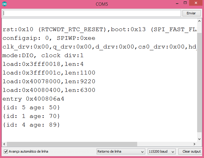 Output of the project, showing the filtered and ordered list of objects.