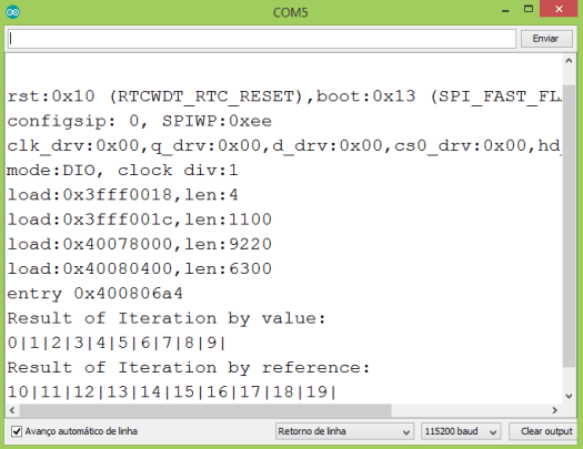 Output of the program, on the Arduino IDE serial monitor.