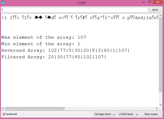 Output of the program, on the Arduino IDE serial monitor, showing the result of applying different cpplinq operators to the array of integers.
